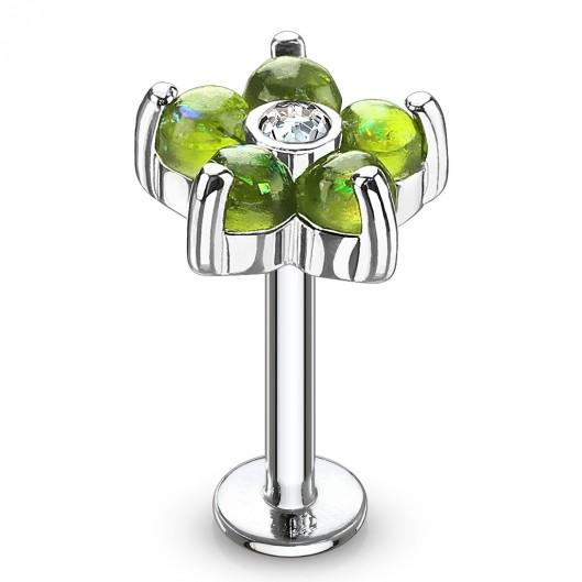 Labreta / piercing do ucha - kytička, zelené kamínky