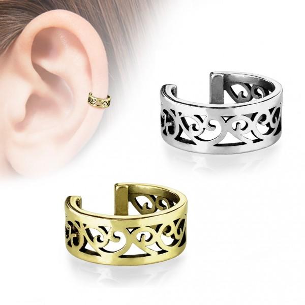 0e14b1d2d Zlacený falešný piercing do ucha - klips s ornamenty Falešný piercing