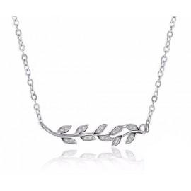 Stříbrný náhrdelník větévka s lístky