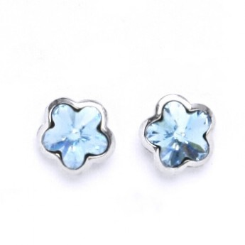 Šroubovací stříbrné náušnice s kytičkami Crystals from SWAROVSKI®, barva: AQUAMARINE