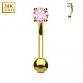 Zlatý piercing do obočí - zirkon, Au 585/1000