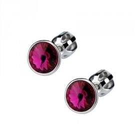Šroubovací stříbrné náušnice s kameny Crystals from SWAROVSKI®, barva: Fuchsia