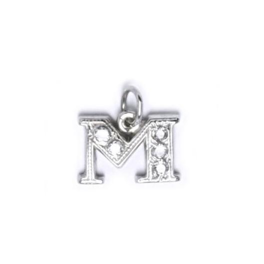 Stříbrný přívěšek písmeno se zirkony - iniciála M