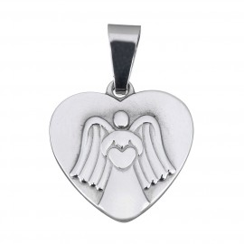 Ocelový přívěšek srdíčko s andílkem