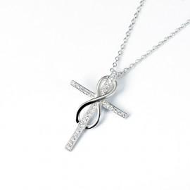 Stříbrný nárhdelník kříž a nekonečno