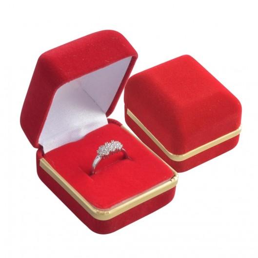 Dárková krabička na prsten - semiš červený