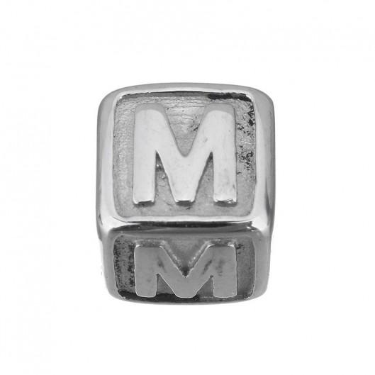 """Navlékací ocelový přívěšek korálek - písmeno """"M"""""""