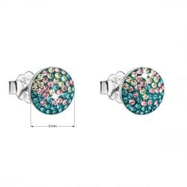 Stříbrné náušnice pecka s krystaly Swarovski mix barev kulaté 31136.3 magic indicolite