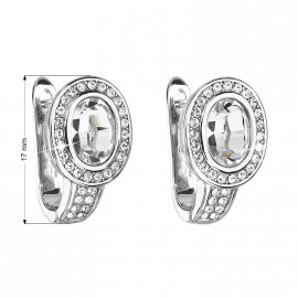 Stříbrné náušnice ovály s krystaly Crystals from Swarovski®