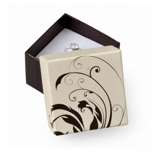 Krémová/černá dárková krabička na prsten