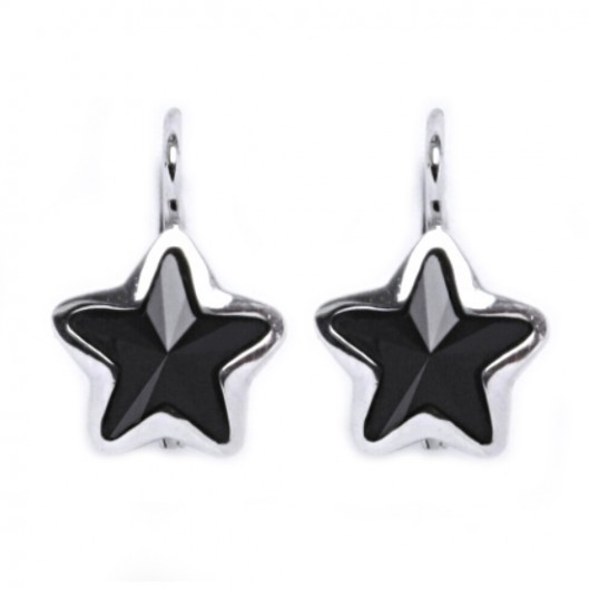 Stříbrné náušnice s hvězdami Crystals from SWAROVSKI®, Black Jet