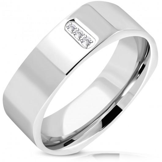 Hranatý ocelový prsten se zirkony
