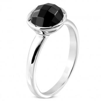 Ocelový prsten s černým kamenem