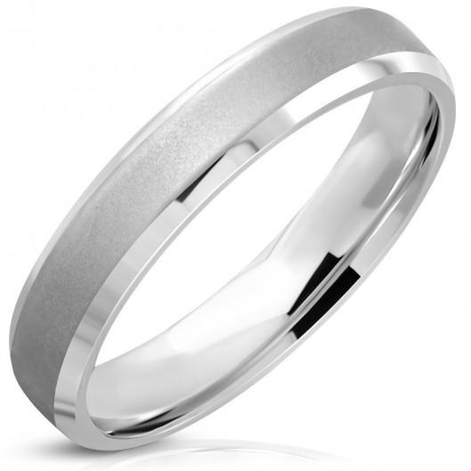 Ocelový prsten matný dekor, vel. 49