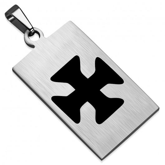 Ocelový přívěšek - destička maltézský kříž