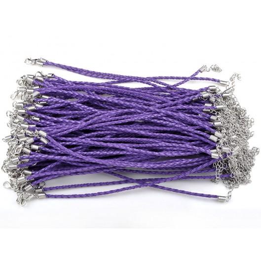 Koženkový splétaný náramek fialový