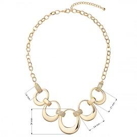Náhrdelník bižuterie se Swarovski krystaly čirý 5 nepravidelných kruhů 52019.1 krystal gold