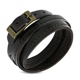 Trojitý tmavě hnědý kožený náramek prošívaný
