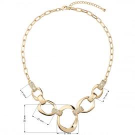 Náhrdelník bižuterie se Swarovski krystaly čirý 5 nepravidelných kruhů 52015.1 krystal gold