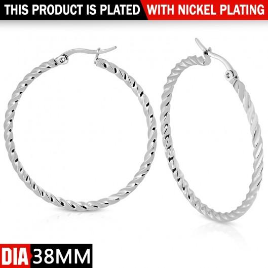 Ocelové náušnice - kruhy 38 mm