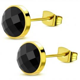 Zlacené ocelové náušnice - černé kameny