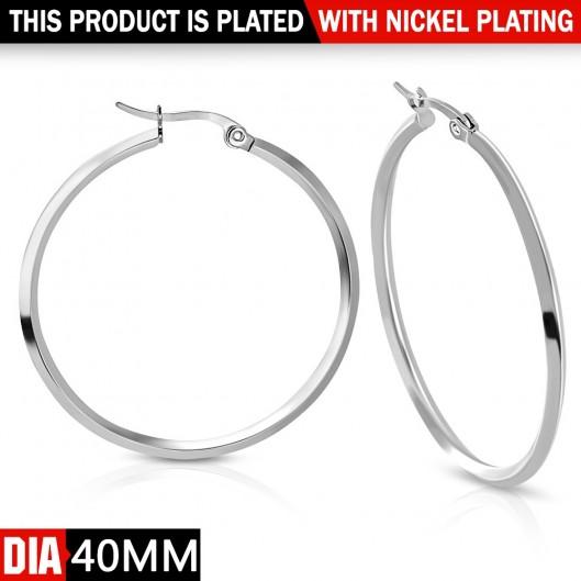 Ocelové náušnice - kruhy 40 mm