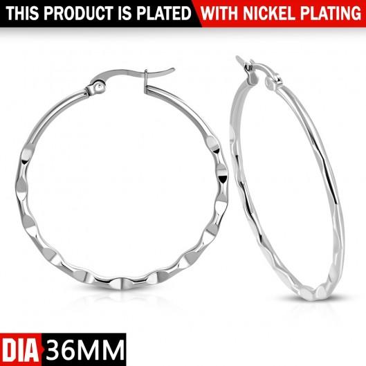 Ocelové náušnice - kruhy 36 mm