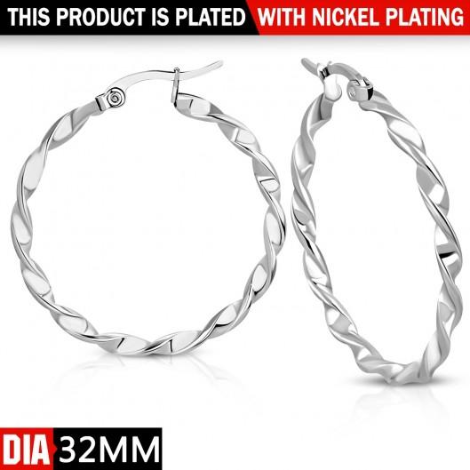 Ocelové náušnice - kruhy kroucené 32 mm
