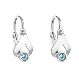 Stříbrné dětské náušnice visací s krystaly Swarovski modrá slza 31198.3