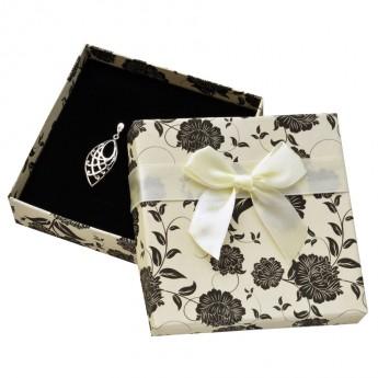 Krémová/černá dárková krabička na soupravu šperků