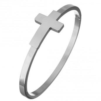 Dámský ocelový náramek kříž