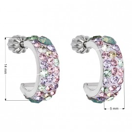 Stříbrné náušnice kruhy s krystaly Crystals from Swarovski®, Sakura