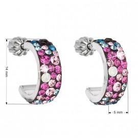 Stříbrné náušnice kruhy s krystaly Crystals from Swarovski®, Galaxy