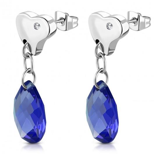 Visací ocelové náušnice kapky, BLUE