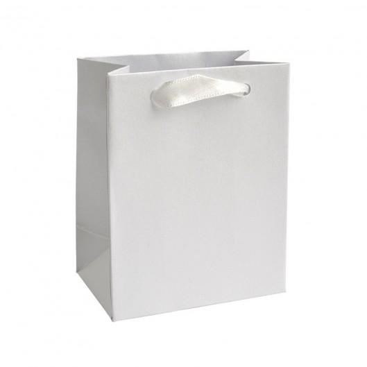 Mini dárková taška perleťově bílá