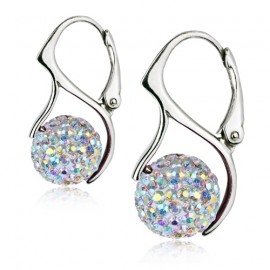 Stříbrné náušnice kuličky s krystaly Crystals from Swarovski®, Crystal AB