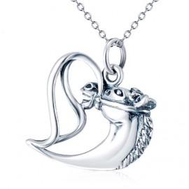 Stříbrný náhrdelník srdce a kůň