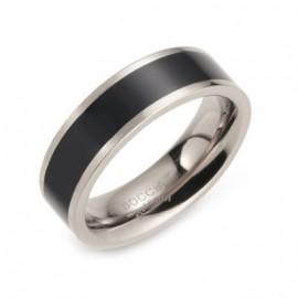 Titanový prsten BOCCIA® s černým smaltem 0123-07