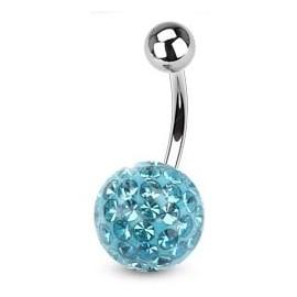 Piercing do pupíku s kamínky Crystals From Swarovski® AQUA