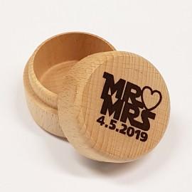 Kulatá dřevěná krabička, průměr 47,5 mm