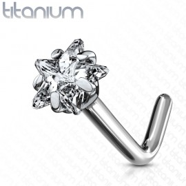 Zahnutý piercing do nosu - titan hvězda, čirý kamínek