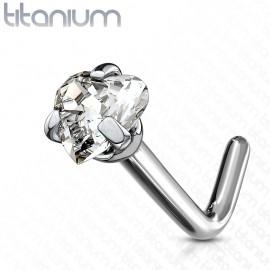 Zahnutý piercing do nosu - titan srdíčko, čirý kamínek