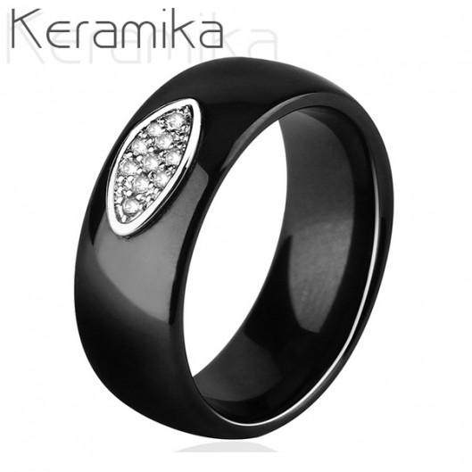 Keramický prsten černý, šíře 8 mm