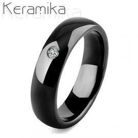 Dámský keramický prsten černý, šíře 6 mm