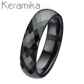 Keramický prsten černý, šíře 6 mm,