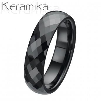 Keramický prsten černý, šíře 6 mm