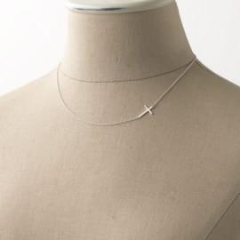 Stříbrný řetízek figaro s bočním křížkem, délka 45 cm
