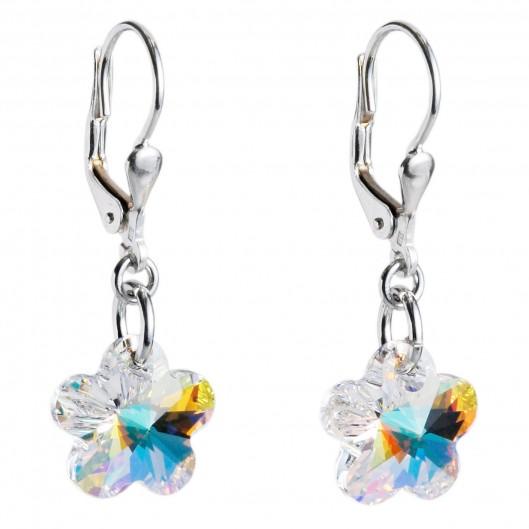 Stříbrné náušnice s kytičkami Crystals from Swarovski®, AB