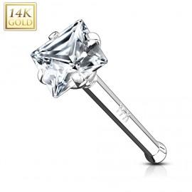 Zlatý piercing do nosu - čtverový zirkon, Au 585/1000