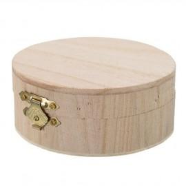 Dřevěná krabička světlá kulatá